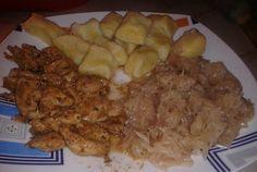Recept Bramborové noky s kuřecím masem a zelím Grains, Pork, Rice, Beef, Treats, Chicken, Bingo, Author, Kale Stir Fry