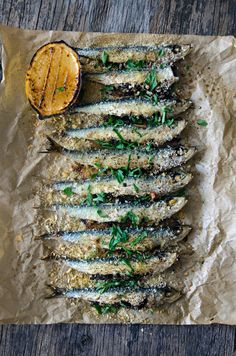 BAKED SARDINE, KALE, PINE NUTS & RAISINS with CARAMELIZED LEMON [heneedsfood]