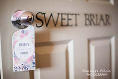 """Detail . . . Sweet Briar suite door with """"bride's room"""" sign"""