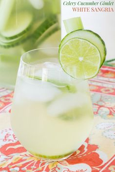 Celery Cucumber Gimlet White Sangria - a refreshing drink recipe that combines two favorite summer cocktails, crisp white wine sangria and a cool gimlet, with a surprising addition. #ad | cupcakesandkalechips.com