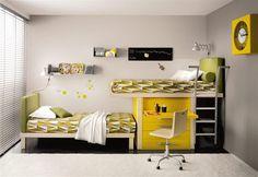 Kids Bedroom Charming Kids Bedroom Decorating Ideas With Compact Full Size  Loft Beds Inside: Cute Full Size Loft Bed With Stainless Steel Stairs Under  Desk ...