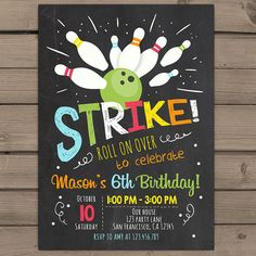 Bowling Birthday invitation Bowling Birthday door Anietillustration