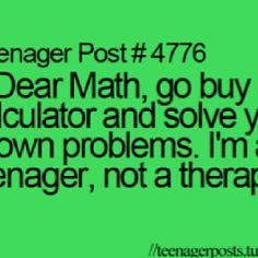 I hate math...