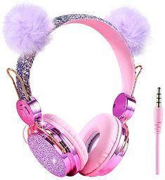 Kids Headphones Glitter Bear Ear Volume Limiting Adjustable Cute Anime Wired Headphones for Girls Boys School (Purple-Bear Ear) Cute Headphones, Girl With Headphones, Beats Headphones, Little Girl Toys, Toys For Girls, Kawaii Accessories, Girls Accessories, Unicorn Fashion, Accessoires Iphone