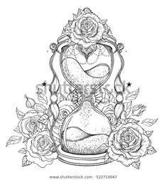 Adult Coloring Pages Tattoos Best Of Pin by Marissa On Tattoos Time Tattoos, Body Art Tattoos, Tattoo Drawings, Sleeve Tattoos, Free Adult Coloring Pages, Cool Coloring Pages, Coloring Books, Tattoo Oma, Hourglass Tattoo