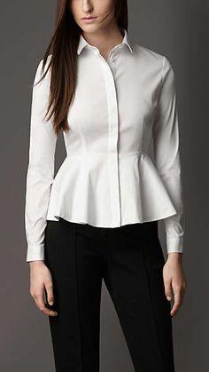 Burberry Peplum Detail Cotton Blend Shirt