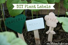 DIY Plant Labels - a cute way to label the plants in your garden Garden Labels, Plant Labels, Plant Markers, Garden Markers, Homemade Insecticide, Make A Bird Feeder, Self Watering Containers, Garden Crafts, Garden Ideas