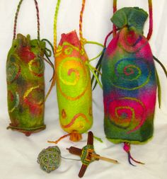 Felted Drop Spindle Bags