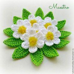 Вязаные цветы крючком со схемами вязания. Красивые вязаные цветы в горшках и без.