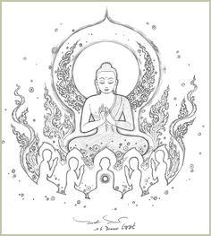 : Fun Learning traditional Thai Designs with JitdraThanee the Tutor Buddha Peace, Buddha Art, Coloring Books, Coloring Pages, Buddha Tattoo Design, Karate, Cartoon Logo, Buddha Painting, Tibetan Art
