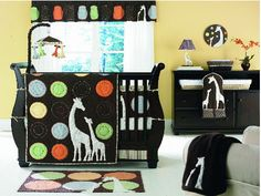 Gender neutral mama and baby giraffe nursery theme room decorated in earth tone colors of chocolate brown orange and ivory for a boy or girl