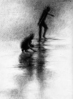 shadow drawing charcoal