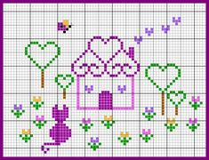 Neat heart-roofed house and heart trees cross stitch - free. Great housewarming present.