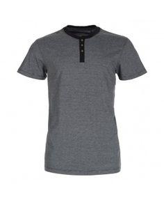 Mens Black Microstripe Grandad T-Shirt