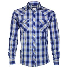 Wrangler Men's Long Sleeve Plaid Print Western Shirt