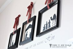 Because I've been having so much fun with my Silhouette lately, let me show you how I'm getting ready for Christmas…. I've used the vinyl (that I actually purchased here for much cheaper) to put some great vinyl right on the wall…….and then added some hanging empty frames right over top. I just love this …