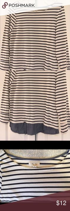 Nautical Striped Light Weight Top Like new, navy striped, attached oxford at the bottom to give a layered appearance, classic style, looks great with jeans, a trench coat, and red rain boots! Tops Tees - Long Sleeve