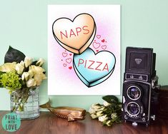 Tattoo Flash Style Valentine Candy Heart Naps and Pizza Pastel Digital Illustration Print