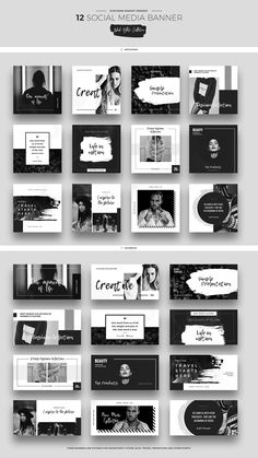 Broschüre design Black & White Social Media Designs by Evatheme on Creative Market Social Media Branding, Social Media Banner, Social Media Template, Social Media Graphics, Instagram Design, Instagram Feed, Facebook Instagram, Layout Design, Web Design