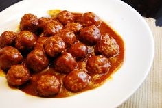 ~Hot and Sweet Meatballs~ 1 bag pre-cooked meatballs; 1 c barbeque sauce; 1/2 c hot and sweet mustard; 1/2 c chicken broth. Combine sauce, mustard and broth. In a large sauce pan Head meatballs and cover with mix. Cook for 20 mins.