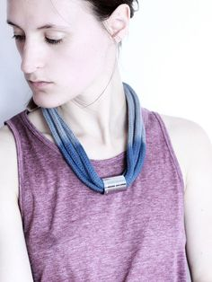 Dip Dye Necklace in light grey and steel blue with von ChezKristel, $45.00