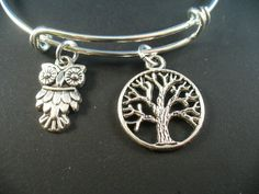 Tree of Life and Wise Owl Silver Bangle Bracelet by DesignsBySuzze