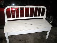 old bed frame turned into a bench