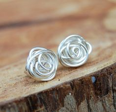 Hey, I found this really awesome Etsy listing at https://www.etsy.com/listing/123975560/rose-bud-posts-wire-knot-sterling-silver