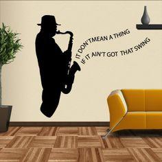 Ich denke jeder der auf Musik und Instrumente steht, wird dieses Motiv gefallen. #Saxophon #Instrument #Wadeco //  http://www.wadeco.de/aint-got-that-swing-saxophonist-wandtattoo.html