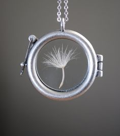 Round Dandelion Seed Necklace Dandelion Necklace Glass Locket. $30.00, via Etsy. If you know me I am OBSESSED with dandelions and adore this necklace <3