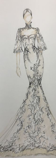 Gorgeous BERTA Sketch from our 2020 Athens Collection Dress Design Drawing, Dress Design Sketches, Fashion Design Sketchbook, Dress Drawing, Fashion Design Drawings, Fashion Sketches, Fashion Design Illustrations, Art Sketchbook, Art Sketches