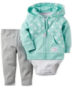 Carter's Baby Girls' 3-Piece Mint Dot Cardigan, Bodysuit & Pants Set