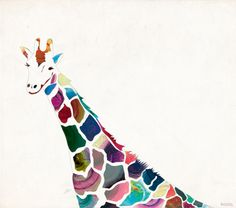 I feel like this would be a beautiful concept...  Draw a giraffe, cut out the spots, and place over patterned paper!