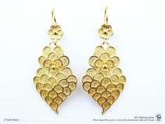 Portuguese Filigree EARRINGS Scaly Heart Viana Traditional in 925 Sterling Silver w/ 24k Gold Bath by NadirFiligree on Etsy