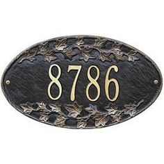 Ivy Standard Wall Address Plaque Color: Black/Gold Letters by Whitehall. $74.99. Address marker is built to offer maximum visibility and meet all local 911 emergency standards.. Crafted entirely in the USA with rust-free recycled aluminum materials.. Simple oval design accented with decorative ivy along top and bottom.. All materials are weather tested to withstand harsh outdoor elements and provide a lifetime of perfo. Ivy Oval Home Address Plaque Features. 400...