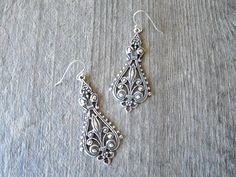 Antique Silver FILIGREE EARRINGS  by harlowmonroevintage on Etsy, $28.00