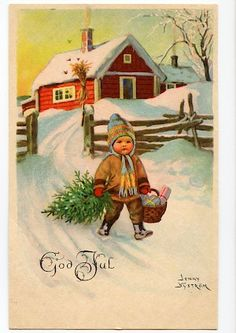 Vintage christmas - Jenny Nyström More Christmas Card Pictures, Vintage Christmas Images, Retro Christmas, Christmas Scenes, Christmas Past, Winter Christmas, Xmas, Swedish Christmas, Scandinavian Christmas