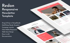 Redon - Responsive Email Newsletter Template Email Templates, Page Template, Newsletter Templates, Responsive Email, Mobile Responsive, Campaign Monitor, Aol Mail, Email Client, Email Newsletters