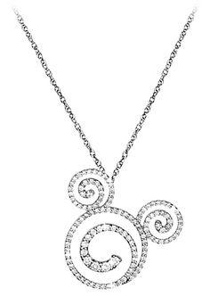 Diamond Swirl Icon Mickey Mouse Necklace -- Platinum
