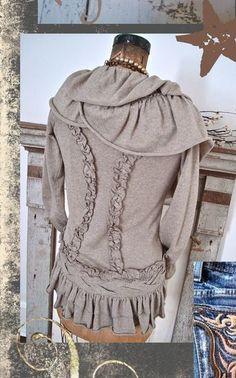 """I love the ruffling detailing in the back! I have a sweater similar to this that is too big and too long. Sew slightly gathered """"darts"""" on the outside in this slimming fashion. After it is complete cut the """"darts"""" to open, iron flat and tack down if necessary! What do you think?"""