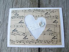 heart cutout card embellished with lace and button - really lovely! Z Cards, Love Cards, Card Tags, Christmas Cards, Musical Cards, Ribbon Cards, Music Notes, Creative Cards, Anniversary Cards