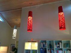 Prosjektbilde fra en #enebolig i Oslo: Foscarini Tress Media i rødt og hvitt.