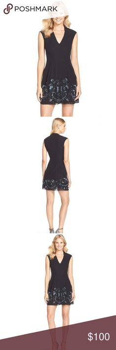 Needle & Thread Black sequined fit and flare dress Brand new with tags Needle & Thread fit and flare v-neck black sequined dress with slight cap sleeves. Beautiful sequined details in bottom of dress. Perfect for New Years or a cocktail party. Needle & Thread Dresses