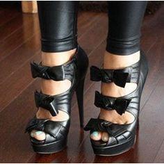 Sexy Black Bowties Stiletto Heel Platform Shoes