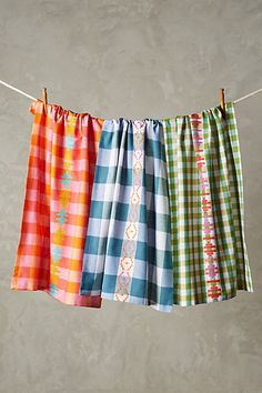Anthropologie EU Brightest Gingham Tea Towel Set