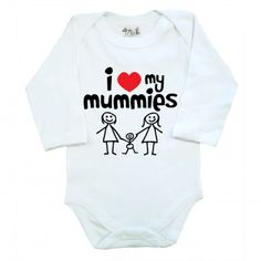 I Love My Mummies - Long Sleeve Bodysuit- Baby Clothes from www.dirtyfingers.co.uk - LGBT Gay / Lesbian Parents Pride