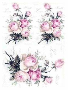 Rice Paper Decoupage, Decoupage Art, Decoupage Vintage, Vintage Paper, Vintage Art, Floral Vintage, Vintage Flowers, Vintage Prints, Vintage Rosen