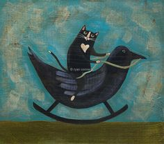 "LOL!!! Here's a Super Twist on things.... ""Cat on a Rocking Crow"" by KilkennycatArt"