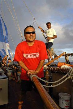Kalapa Baybayan and Nainoa Thompson enroute to Satawal aboard Hokule'a