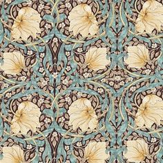 Pimpernel Fabric In bullrush and slate tones, flowers gracefully flow and curve in a symmetrical pattern. A marvellous design from the Morris & Co collection.